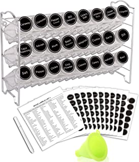 SWOMMOLY Spice Rack with 24 Empty Square Spice Jars, 396 Spice Labels with Chalk Marker and Funnel Complete Set, for Count...
