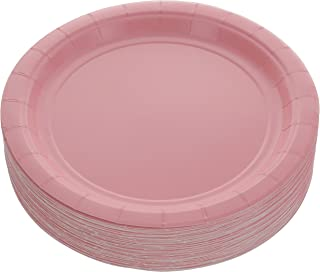 Amcrate Pink Disposable Party Paper Dessert Plates 7