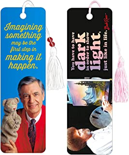 Inspiring Quote Bookmarks for Women Kids Bundle ~ Premium Mister Rogers Bookmark and Bob Ross Bookmark for Book Journal No...