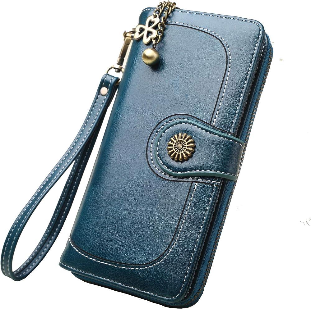 Y yongyuan portafoglio porta carte di credito per donna in ecopelle Verde Malachite
