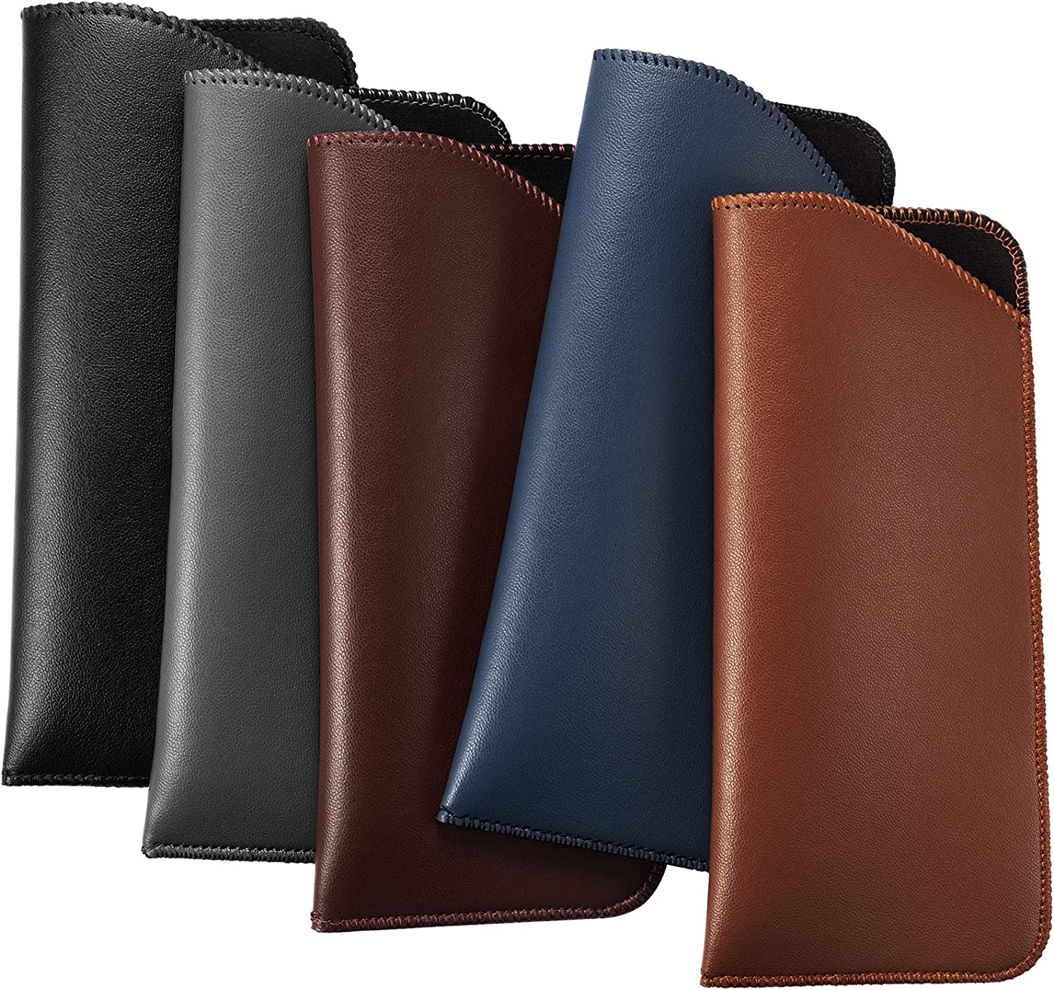 5 Pieces Slip In Eyeglass Pouch Artificial Leather Slim Travel Sunglasses Case Holder Leather Eyewear Sleeve