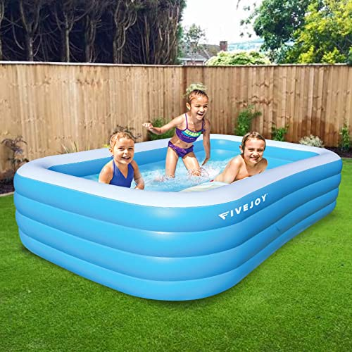"""new arrival FiveJoy Inflatable Swimming Pool for Kids, online sale Adults, Family, Large Blow Up Swimming Pool, 4 Individual Chambers, Perfect high quality for Outdoor, Backyard, Garden, Summer Water Party, 120""""×72""""×25"""" - Upgraded outlet sale"""