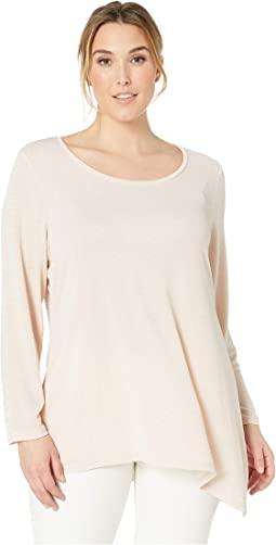 Plus Size Long Sleeve Asymmetrical Metallic Top