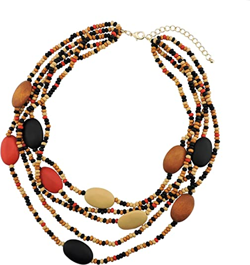 60s -70s Jewelry – Necklaces, Earrings, Rings, Bracelets Coiris Multi Color 5 Layers Wood Beads Strand Statement Necklace for Women Chunky Collar (N0019)  AT vintagedancer.com