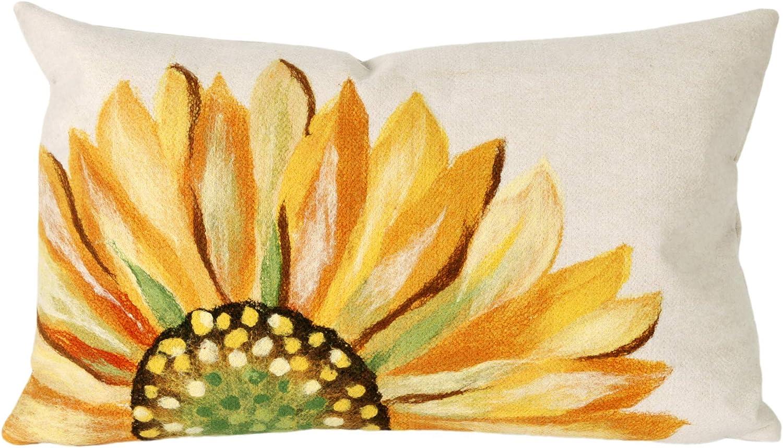 Liora Manne 7S01SA37109 Mystic III Summer Flower Yellow Indoor Outdoor Pillow