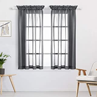WONTEX Faux Linen Grey Sheer Curtains - Rod Pocket Semi Sheer Voile Curtains for Living Room and Bedroom, Set of 2 Curtain Panels, 55 x 63 inch Each Panel