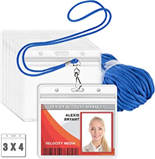 MIFFLIN Lanyard with Clear Horizontal ID Holder (Blue, 3x4 Inch, 100 PK), Name Tag with Lanyard Set