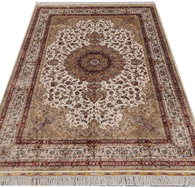 Yilong 6'x9' Vintage Hand Knotted Persian Silk Rugs Classic Oriental Floral Medallion Carpet