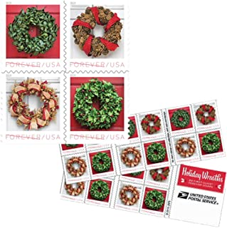 Holiday Wreaths Book of 20 Forever US First Class Postage Stamps Christmas Tradition Celebration (20 Stamps)