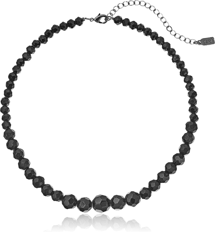 1928 Jewelry Black Beaded Adjustable Strand Necklace, 15