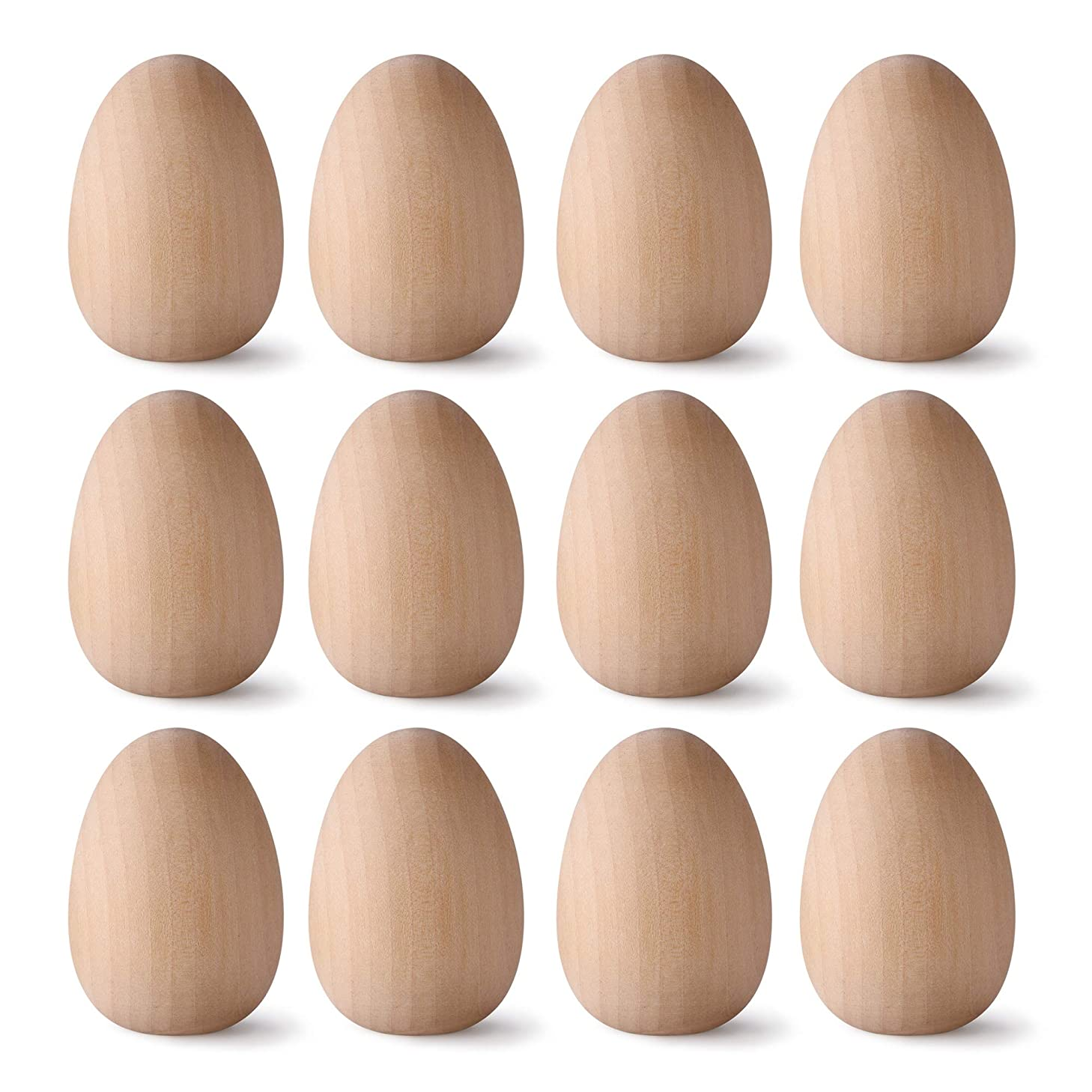 CM Pack of 12 Unfinished Wooden Eggs Easter Eggs Decoration for Painting DIY Crafts