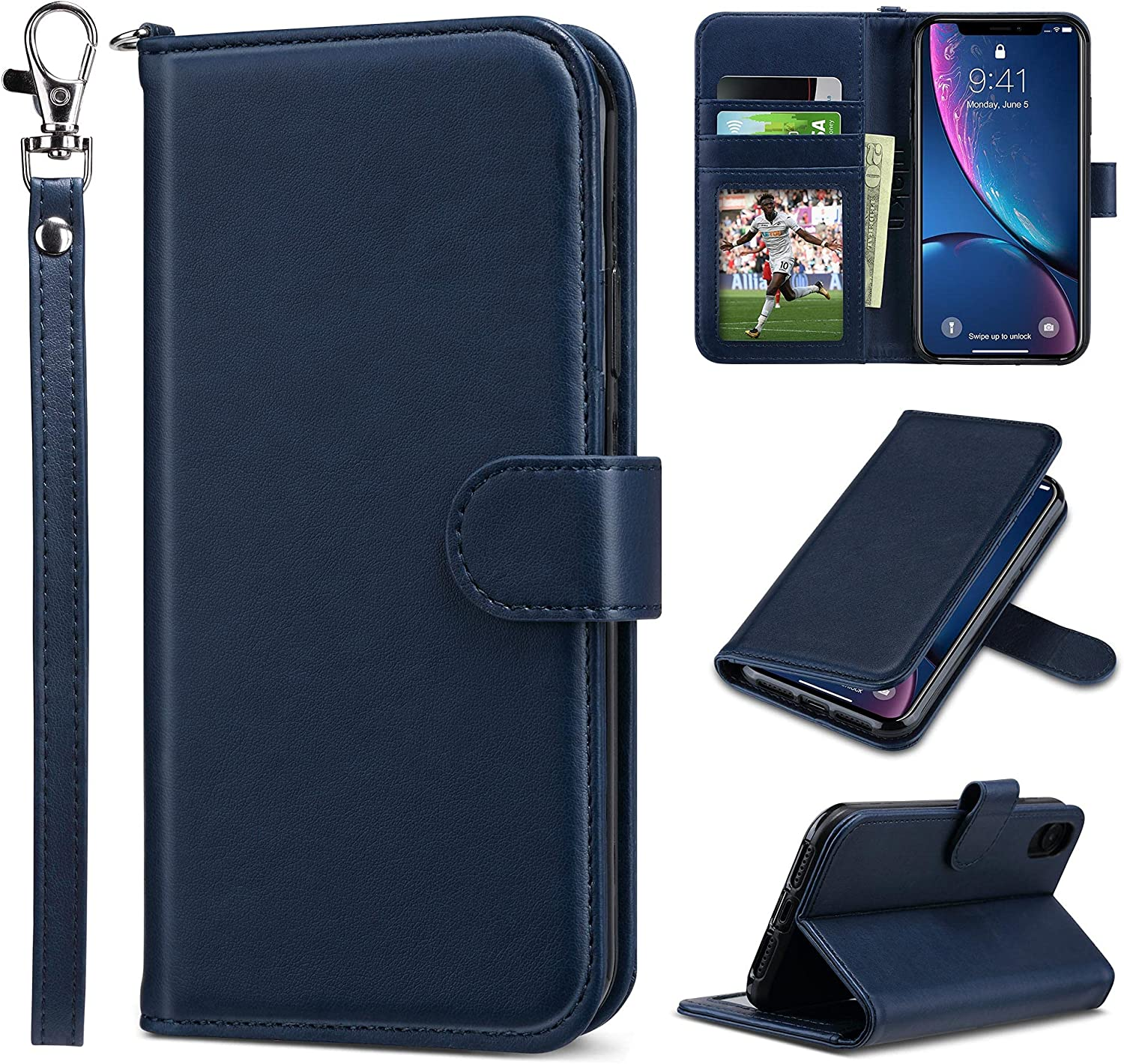 ULAK iPhone XR Wallet Case, Premium PU Leather Flip Folio Case with Card Holders Kickstand Hand Strap Shockproof Protective Cover for iPhone XR 6.1 inch (Blue)