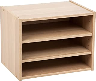 IRIS USA, SBS-LB, Modular Wood Storage Organizer Cube Box with Adjustable Shelves, Light Brown, 1 Pack