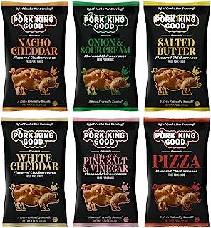 Pork King Good Pork Rinds Variety 6 Pack (Chicharrones) Keto Snacks