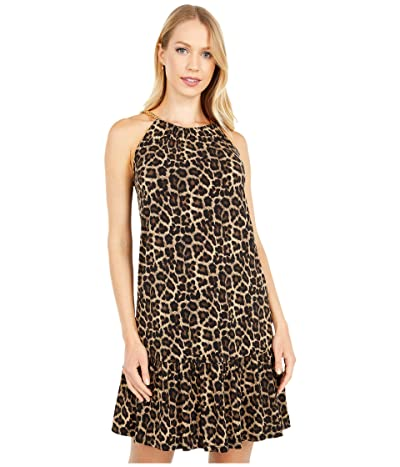 MICHAEL Michael Kors Nubian Chain Halter Dress (Dark Camel) Women