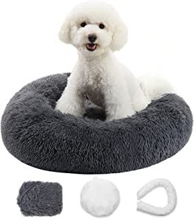 Zippered Calming Dog Bed with Removable Cover Fluffy Anti-Anxiety Donut Faux Fur Cuddler Dog Bed Bean Bag Dog Bed Calming ...