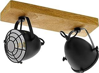 EGLO Lámpara de techo Gatebeck, 2 focos, lámpara de techo vintage, industrial, retro, foco de techo de acero en negro y madera natural, lámpara de salón, lámpara de cocina con casquillo E14