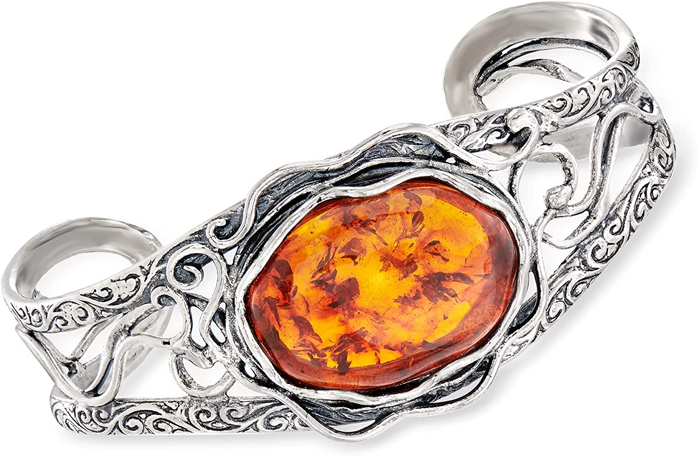 Ross-Simons Amber Openwork Cuff Bracelet in Sterling Silver