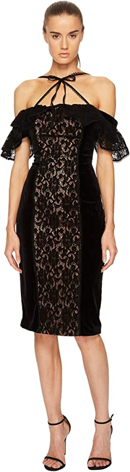 Marchesa Notte - Stretch Velvet Off Shoulder Gown