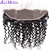 Ali Moda 13X4 Deep Wave Ear To Ear Malaysian Lace Frontal with Baby Hair Bleached Knots Human Hair Natural Color 10 inch