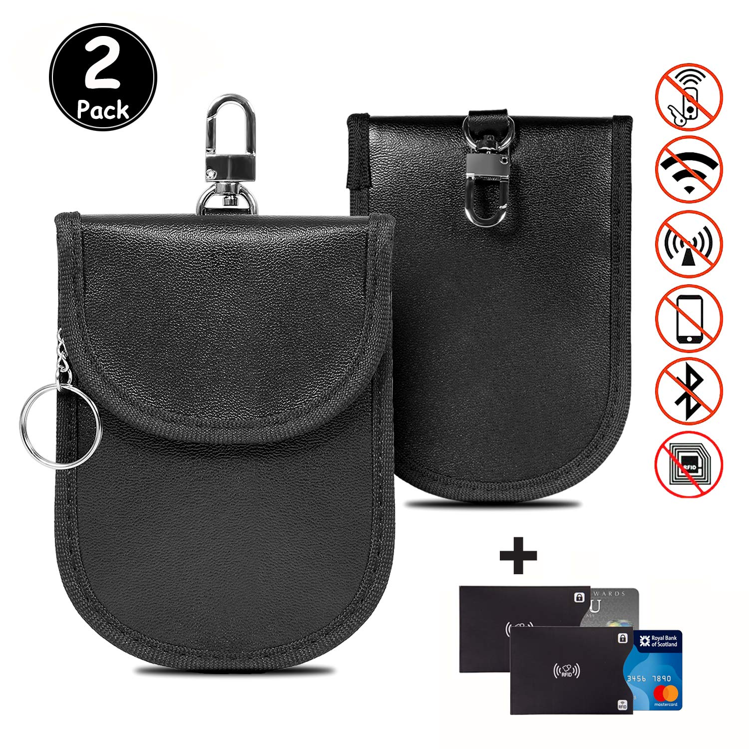 2 PACK ZTXPRO Car Key Signal Blocker Case RFID Signal Blocking Pouch Dual Layer Faraday Bag for Blocking Keyless Entry Fob Guard Anti-Theft WIFI//NFC//Mobile Phone Blocking PU Leather Red