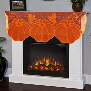 Camlinbo Fall Decor Fireplace Scarf 20 x 60 Inch Maple Leaves Brown Mantle Scarves Lace Fall Pumpkin Table Cover for Thank...