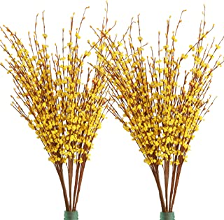 """Furnily 20 Pcs Artificial Flowers 29.5"""" Long Winter Jasmine Fake Flowers for Decoration Artificial Plants (Yellow)"""