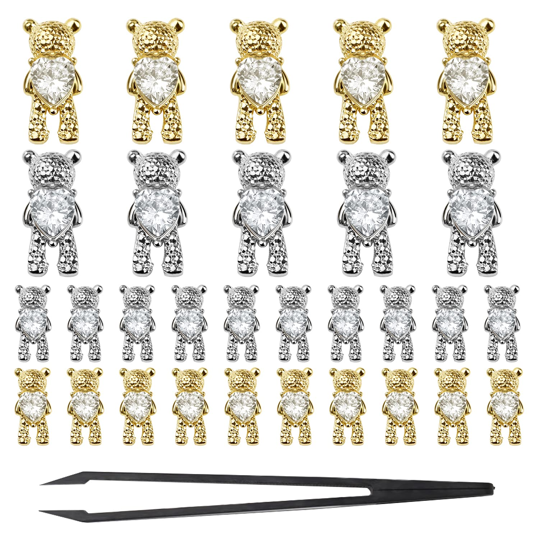 30 Pcs Alloy Bear Ranking TOP4 Nail online shop Charms Rhinestone Art Metal 3D
