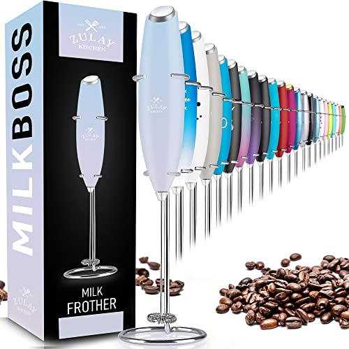 Zulay Original Milk Frother Handheld Foam Maker for Lattes - Whisk Drink Mixer for Coffee, Mini Foamer for Cappuccino...