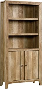 "Sauder Dakota Pass Library with Doors, L: 33.82"" x W: 12.52"" x H: 71.10"", Craftsman Oak Finish"