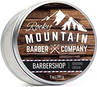 Shaving Cream for Men - Barbershop Scent - Made in Canada - Hydrating, Rich & Thick Lather for All Skin Types Including Sensitive Skin by Rocky Mountain Barber Company - 5 Ounce Tin