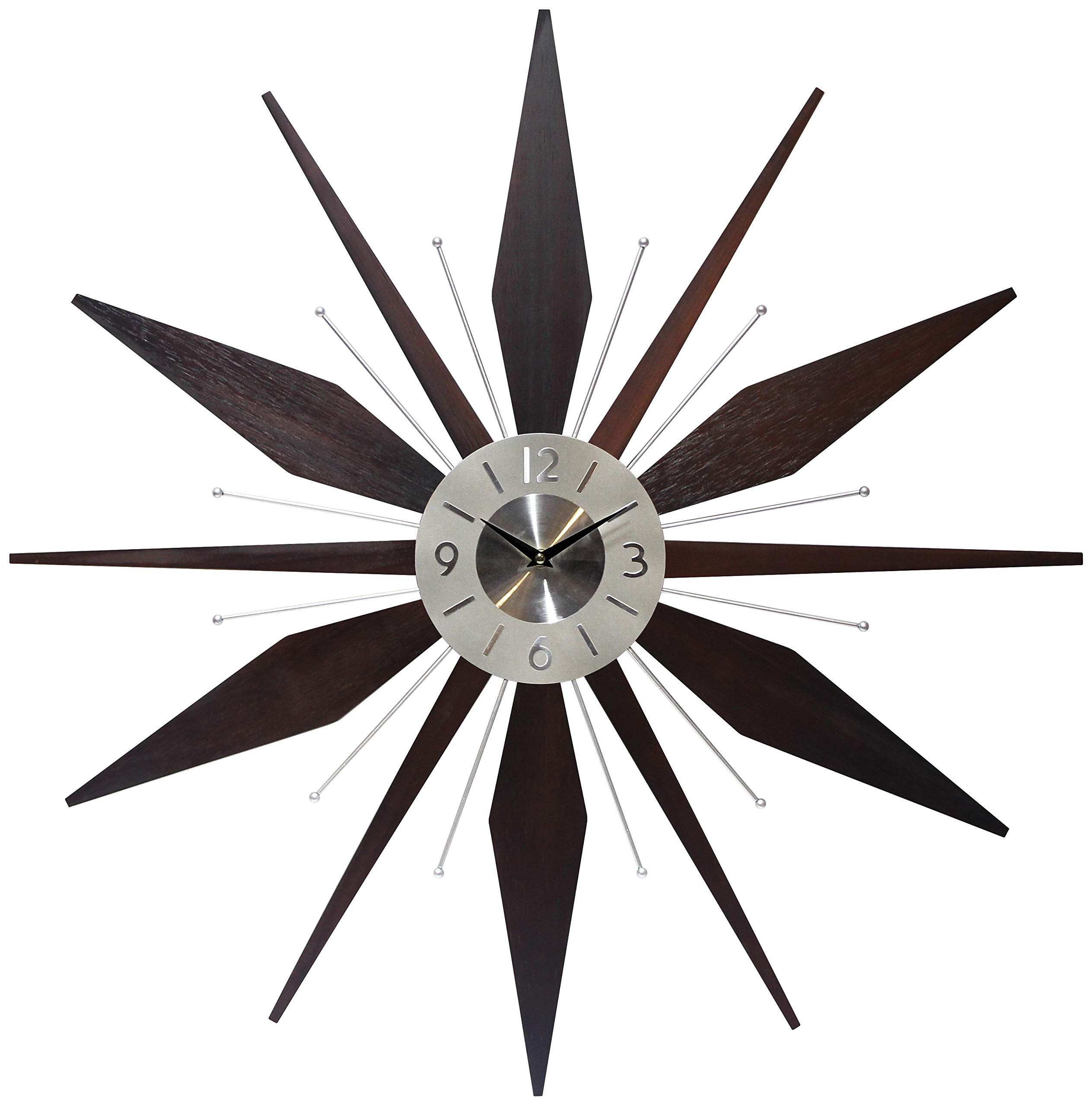 Mid Century Mantle Clock Starburst Wall Clock Large 30 Inch Midcentury Modern Wall Clock Unique Modern Design Sunburst Clock Mid Century Wall Decor For Living Room Kitchen Bedroom Walnut Wall Clock
