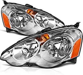 Headlight Assembly for 2002 2003 2004 Acura RSX Headlamp Replacement, Chrome Housing Amber Reflector