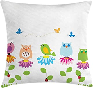 Flowers Throw Pillow Cushion Cover, Colorful Cartoon Style Birds on Chamomile Daisy Flowers Butterflies Ladybugs Kids, Decorative Square Accent Pillow Case, 18 X 18 Inches, Multicolor