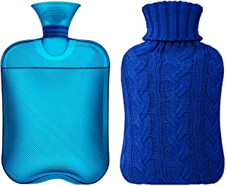 Samply Hot Water Bottle- 2 Liter Water Bag with Knitted Cover, Transparent Dark Blue