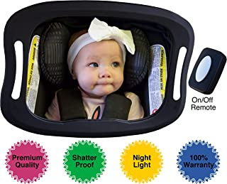 Baby Car Mirror with Light (for Driving at Night) & FOB Control | Backseat Baby Mirror by Baby Watch | Shatter-Proof, Fully Assembled