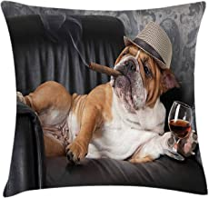 Rdsfhsp Bulldog Humorous Photo of a Gentleman Dog Resting in a Chair with Glass of Drink and Cigar Cushion Throw Pillow Cover/Case For Decorating Sofa Car Bedroom Etc Or Gifts Cotton 20x20 In