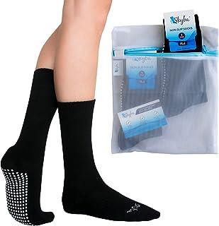 Calcetines Antideslizantes Suela Para Andar por Casa- Calcetines de Hospital Cómodos Tipo Zapatilla - Hombres Mujeres Adultos Calcetín por Pilates Yoga (2 Pares- Negro)