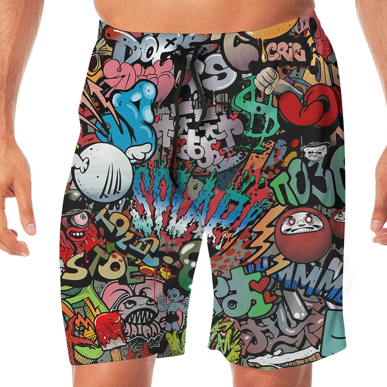 PEKIVIDE Graffiti On Wall Streetart Background Men's 3D Print Novelty Board Shorts Quick Dry Swim Trunks with Pocket