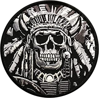 Indian Chief Death Skull War Embroidered Iron on sew on 4 inch Patch (MI-7)