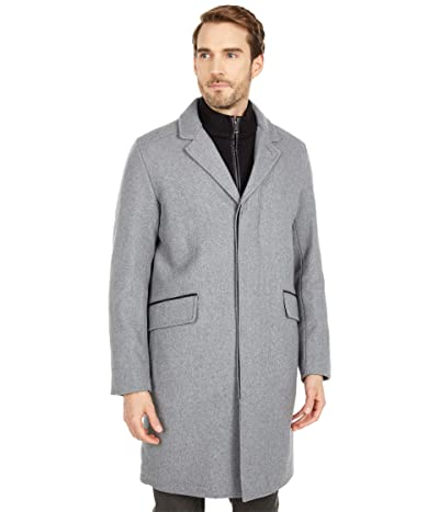 Cole Haan 39 Wool Twill Long Classic Topper Coat (Light Grey) Men