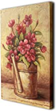 CVHOMEDECO. Country Vintage Hand Painted Wooden Frame Wall Hanging 3D Painting Landscape Art Décor, Flower in Pail Design,...