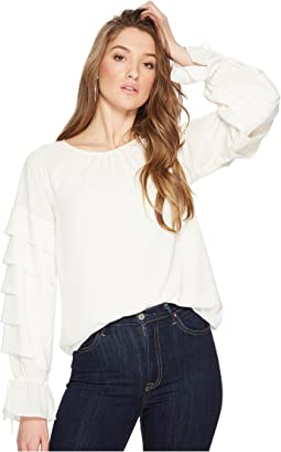 1.STATE - Long Sleeve Tiered Sleeve Blouse with Ties