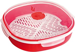 Snips Microwave Cookware Steamer, 67.6 Oz./8.45 Cups, Red