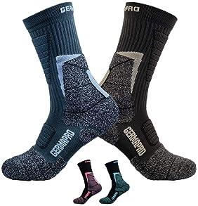 Men's Hiking Socks Breathable Boot Socks w/Anti-Blister-Odor-Sweat Wicking Germanium & Coolmax Lite-Compression 1/2 prs