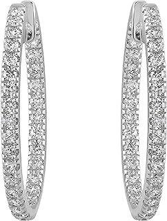 "Olivia Paris Certified 14k White Gold Inside Out Diamond Earrings (1.00 cttw, G-H, VS2-SI1), 1"" Inch"