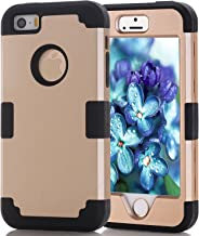 Asstar 3 in 1 Hard PC+ Soft TPU Impact Protection Heavy Duty Shockproof Full-Body Protective Case for Apple iPhone SE / iPhone 5 5S - Gold black