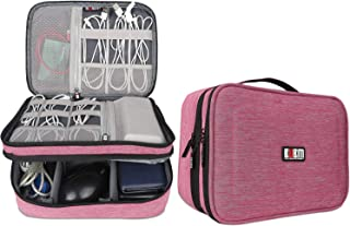 """BUBM Electronic Organizer, Double Layer Travel Accessories Storage Bag for Cord, Adapter, Battery, Camera and More-a Sleeve Pouch for iPad or up to 9.7"""" Tablet(Large, Denim Pink)"""
