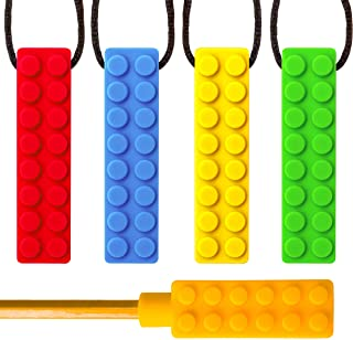 Sensory Chew Necklace Bundle - Silicone Chewies for Autism, Teething, ADHD , Biting, Oral Motor Chewy Stick/Tube Toy Jewelry for Boys, Girls, Kids, Adults - by SENSO MINDS (5 Pack)