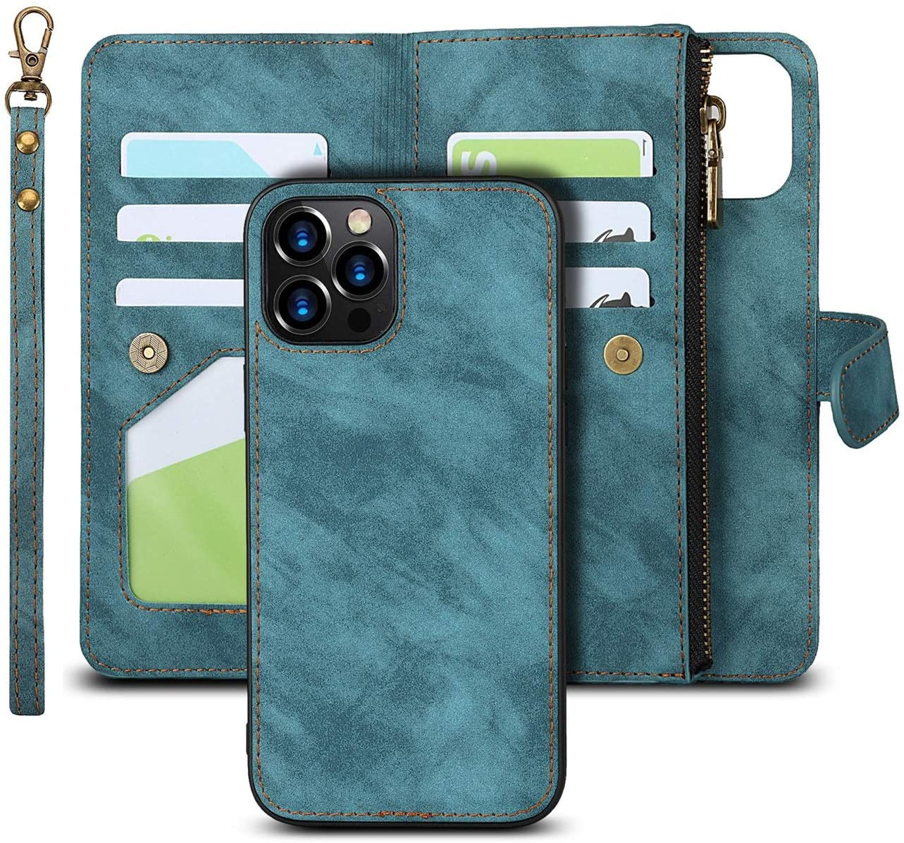 iCoverCase iPhone 12 Pro Max Wallet Case with Card Holder, 2 in 1 PU Leather Case with Magnetic Clasp Zipper Pocket Shockproof Detachable Flip Case with Wrist Strap for iPhone 12 Pro Max (Blue)